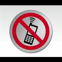 No Mobiles Symbol Symbol Satin Silver Door Disc