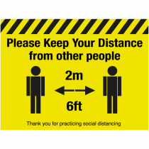 Please keep your distance from other people floor sign