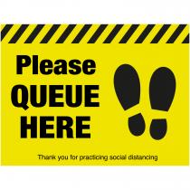 Please queue here with symbol distancing floor sign