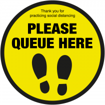 Please queue here with symbol social distancing floor sign