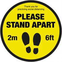 Please Stand Apart social distancing floor sign