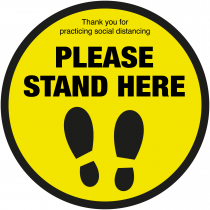Please Stand here with symbol social distancing floor sign