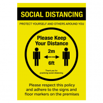 Please keep your distance social distancing policy sign