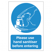 Please use hand sanitiser before entering vinyl sticker