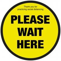 Please wait here social distancing floor sign
