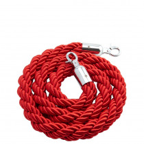 Red Rope Barrier with Chrome Ends