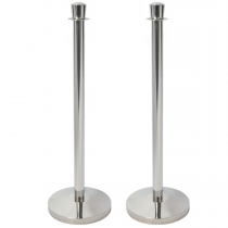 Set of 2 Chrome Rope Barrier Posts