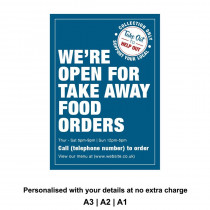 We are Open for Take Away food orders Personalised Anti-Tear Waterproof Poster - Blue