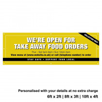 Were Open for Take Away food orders Personalised PVC Banner - Yellow