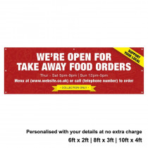 Were Open for Take Away food orders Personalised PVC Banner - Red