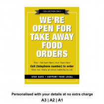 Were Open for Take Away food orders Personalised Anti-Tear Waterproof Poster