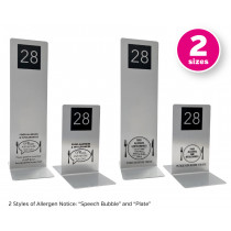 Brushed Silver Allergy Awareness Table Numbers. Suitable for Pubs, Cafes and Restaurants