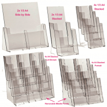 Stacked Acrylic Freestanding Leaflet / Brochure Dispensers