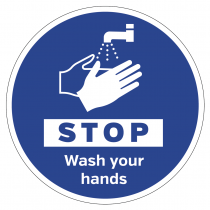 STOP wash your hands floor & wall vinyl sign graphic