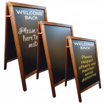 Wooden A Board with Chalkboard Display