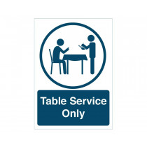Table Service Only social distancing notice