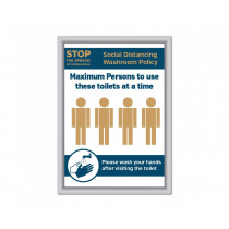 Maximum of 4 persons to use these toilets at a time Social Distancing Wall mounted Toilet Sign