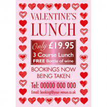 Personalised Valentines Day Lunch Bookings Now Being Taken Poster