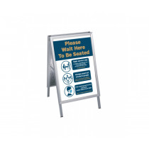 Please wait here to be seated Social Distancing pavement display. A2 size