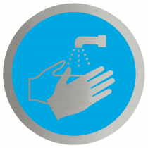 Wash your Hands Symbol Stainless Steel Disc