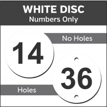White Engraved table / locker number discs