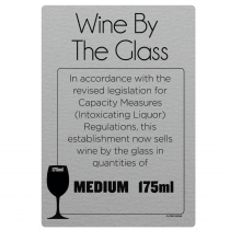 175ml Wine By The Glass Licensing & Bar Notice