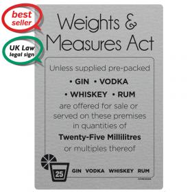 25ml Weights & Measures Act  -  Spirit Measures Bar Notice