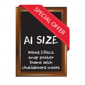 A1 size Wood Effect Snap poster frame with Chalkboard insert