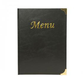 A4 Black Gloss Leather Style Restaurant Menu Holder / Menu Cover