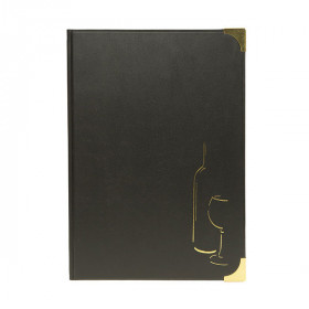 A4 Black Gloss Leather Style Wine List - Size 32 x 22 cm