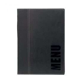 Trendy Black Leather Style A5 Restaurant Menu Holder