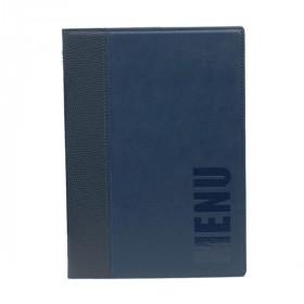 Trendy Blue Leather Style A5 Restaurant Menu Holder / Menu Cover