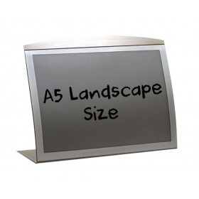 A5 Landscape silver curved satellite countertop menu poster holder.