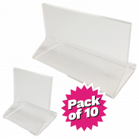 Clear T Shape Acrylic Card Holders - Pack of 10