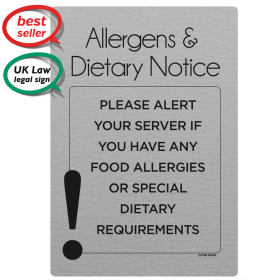 Food Allergy Sign. Alert your server of any Allergens & Dietary requirements sign
