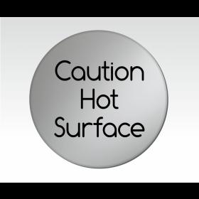 Caution Hot Surface Satin Silver Door Disc