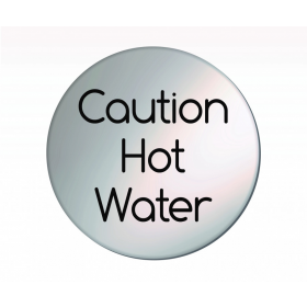 Caution Hot Water Satin Silver Door Disc