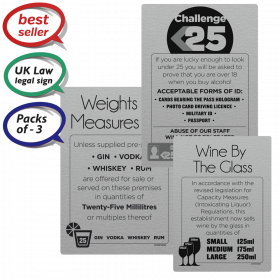 Challenge 25, Weights & Measures, Wine by the Glass - Pub & Bar Notices - Pack of 3