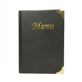 A5 Black Gloss Leather Style Restaurant Menu Holder / Menu Cover
