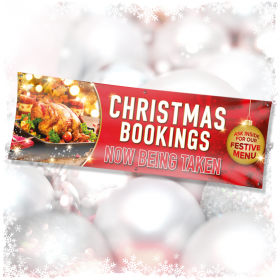 Banners Christmas Menu Bookings Red Poster