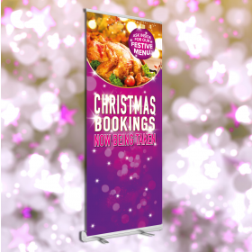 Christmas Roller Banner Book Now Design 850x2000mm