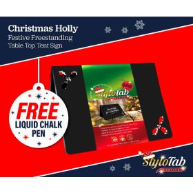 Christmas Chalkboard Holly stylotab Festive Freestanding table top tent sign