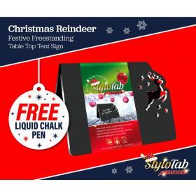 Christmas Reindeer stylotab Festive Freestanding table top tent sign