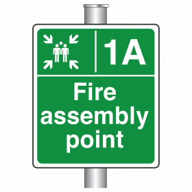 Post Mounted Fire Assembly Point Zone Sign
