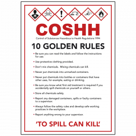 COSHH Signage - 10 Golden Rules