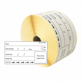 Removable Use By Shelf Life Labels for Prepared Food. (500 labels per roll)