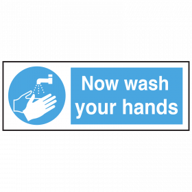 Now Wash Your Hands with symbol notice