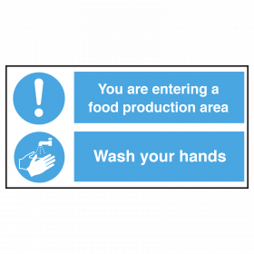 Entering Food Production Area, Wash Hands Notice