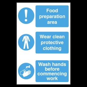 Food Preparation Area, Protective Clothing, Wash Hands Notice