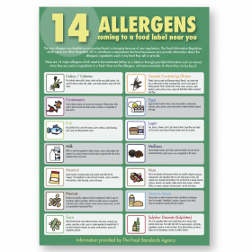 Food Allergen Poster. Staff Guidance. A3 size